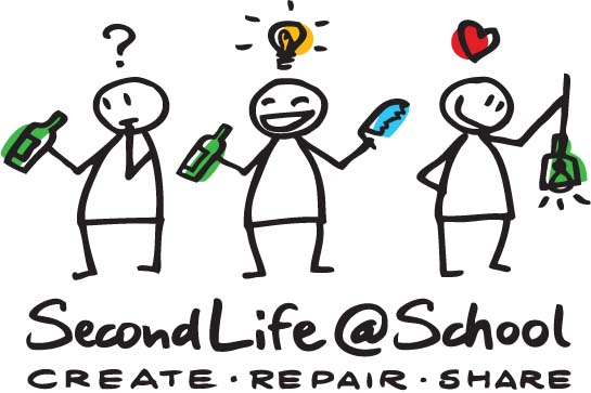 3 mannetjes met fles - second life at school - create, repair, share